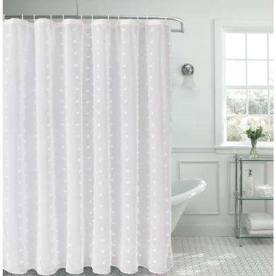 Snowball 72 In Linen Look Fabric Shower Curtain