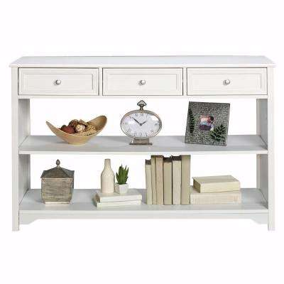 White sofa table Cheap Oxford White Storage Console Table Home Depot Entryway Tables Entryway Furniture The Home Depot