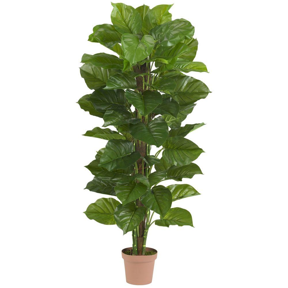 Nearly Natural Real Touch 63 in. H Green Large Leaf Philodendron Silk Plant