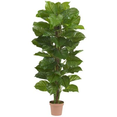 Real Touch 63 in. H Green Large Leaf Philodendron Silk Plant