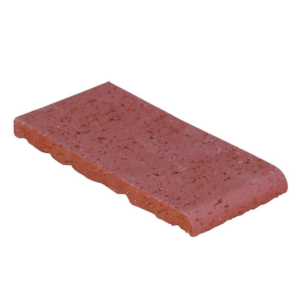 null Malibu Lane Sunset Red 7.63 in. x 3.63 in. x 0.63 in. Bullnose Trim Clay Brick-DISCONTINUED