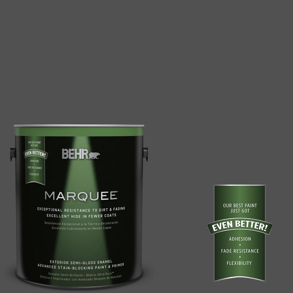 1-gal. #N460-7 Space Black Semi-Gloss Enamel Exterior Paint