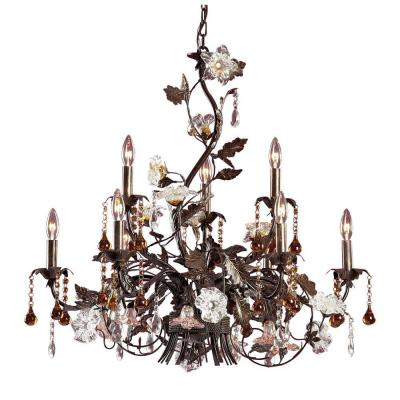 Cristallo Fiore 9-Light Deep Rust Ceiling Mount Chandelier