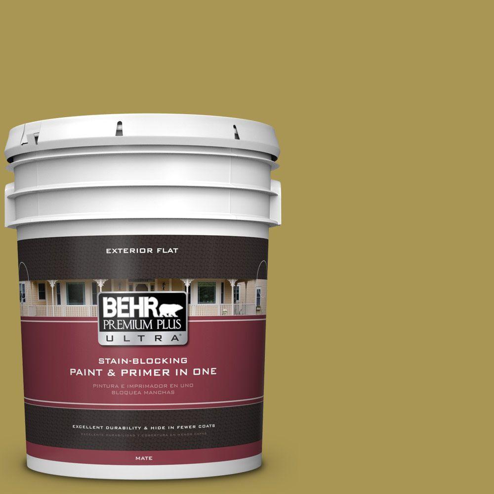 BEHR Premium Plus Ultra 5-gal. #390D-6 Spring Moss Flat Exterior Paint