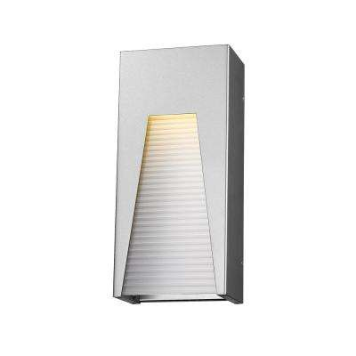 Farran 75-Watt Equivalent Outdoor Silver Integrated LED Wall Mount Sconce with Frosted Ribbed Glass Shade