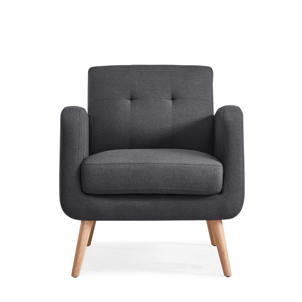 Deals on Handy Living Kingston Charcoal Linen Mid Century Modern Arm Chair