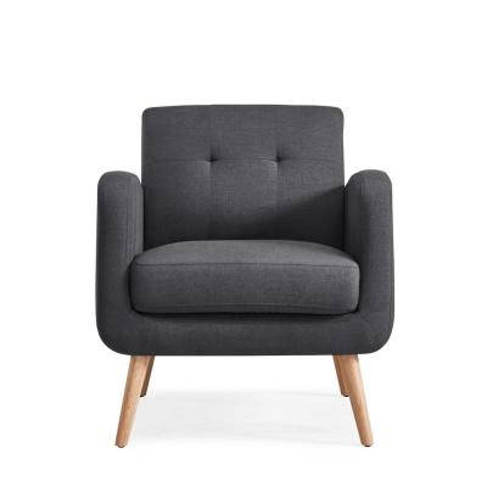 Kingston Charcoal Linen Mid Century Modern Arm Chair