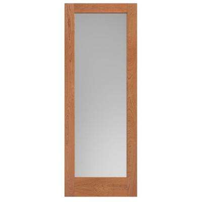 30 in. x 84 in. Cherry Veneer 1-Lite Solid Wood Interior Barn Door Slab