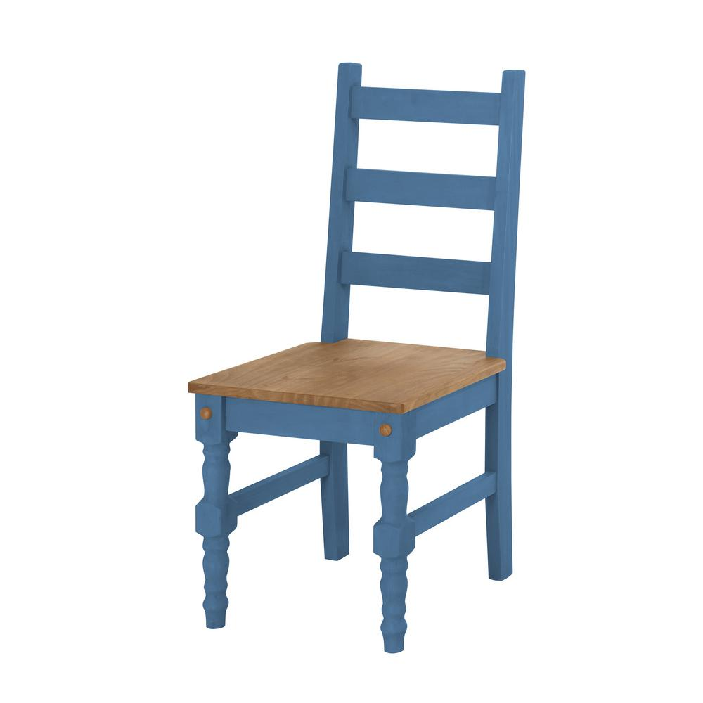 Manhattan Comfort Jay 2 Piece Blue Wash Solid Wood Dining Chair