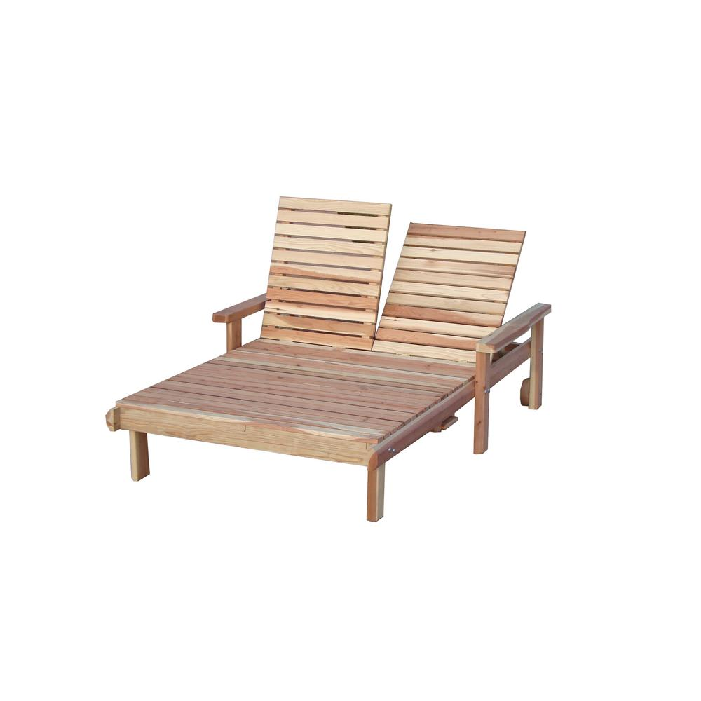 Double Beach Clear Redwood Outdoor Chaise Lounge