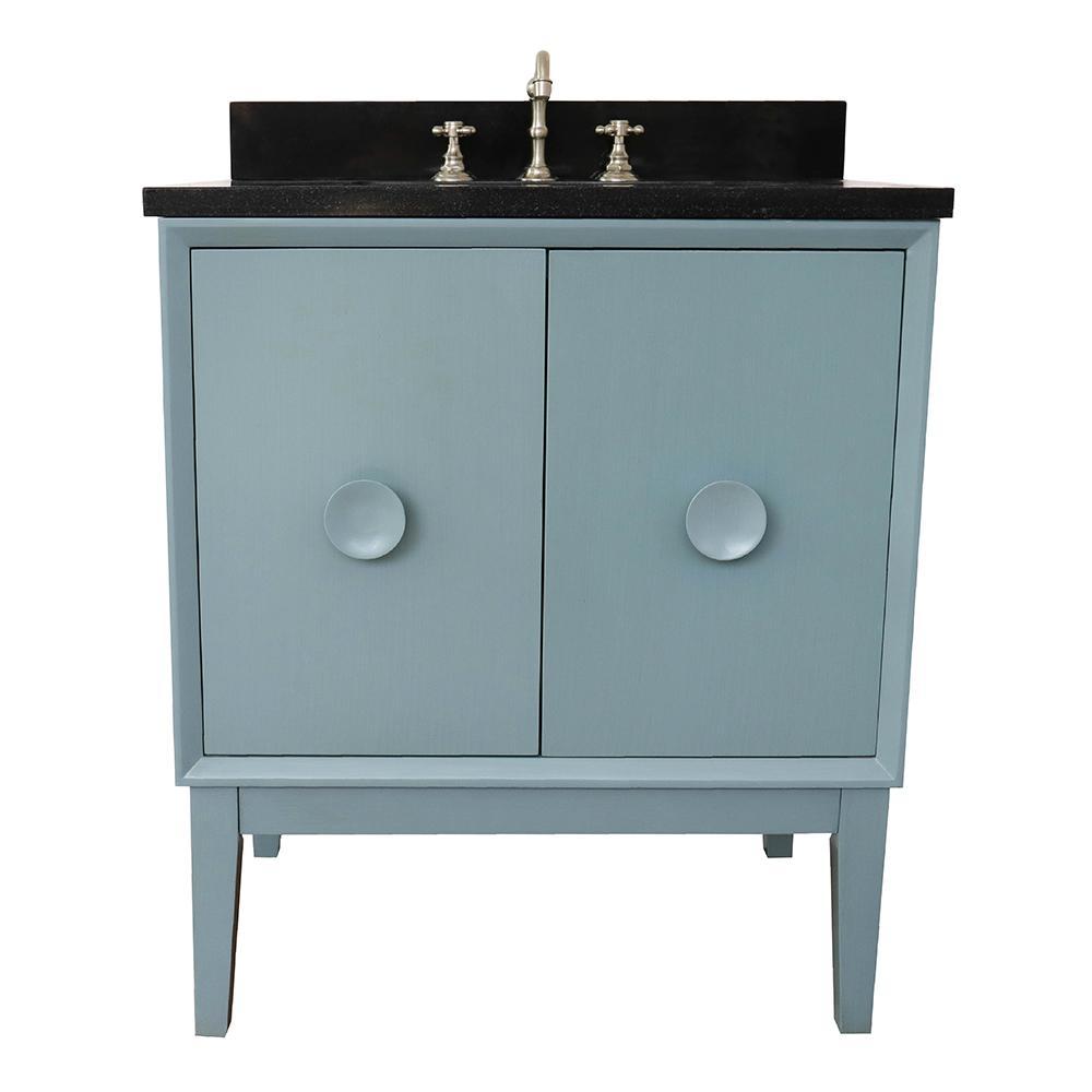 Stora 31 in. W x 22 in. D Bath Vanity in Aqua Blue with Granite Vanity Top in Black with White Rectangle Basin