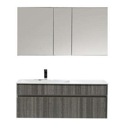Ashy 48 in. W x 20.50 in. D x 20 in. H Vanity in Gray with Acrylic Top in White with White Basin