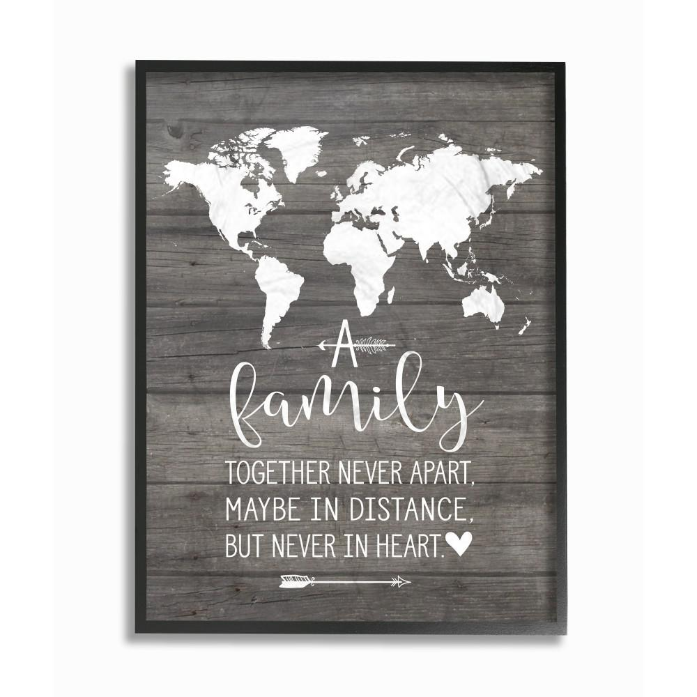 16 in x 20 in family together in heart by lettered and lined wood framed wall art