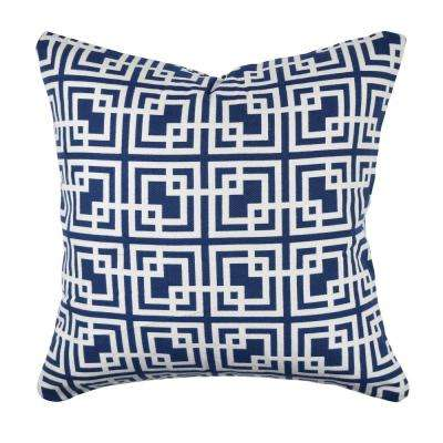 Navy Square Designer Woven Pillow
