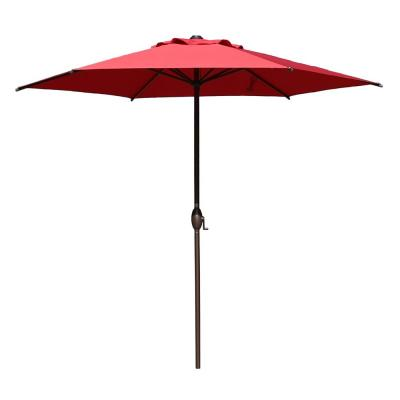 9 ft. Market Outdoor Patio Umbrella Aluminum Pole with Push Button Tilt and Crank,Red