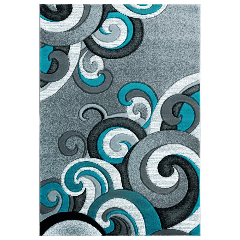 United Weavers Bristol Rhiannon Turquoise 1 ft. 10 in. x 2 ft. 8 in. Accent Rug