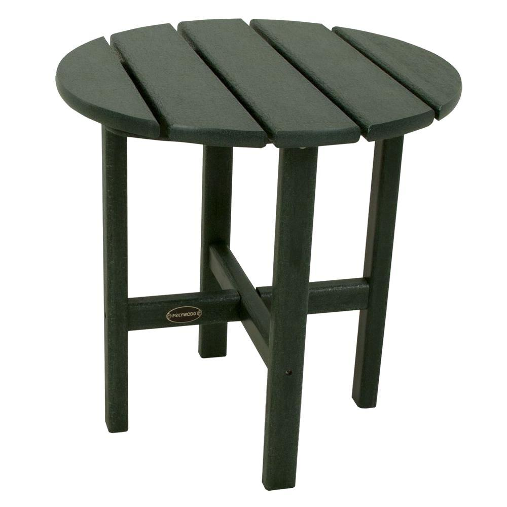 18 in. Green Round Patio Side Table