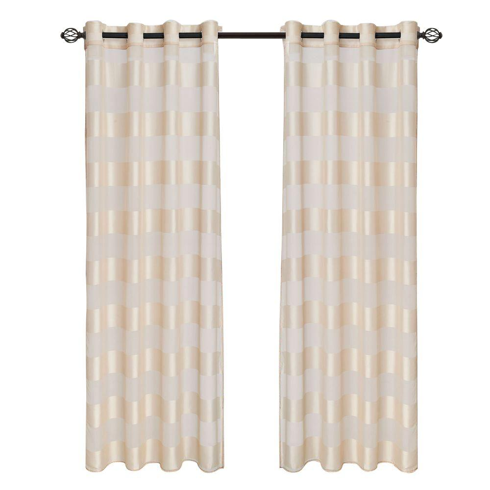 Lavish Home Cream Sofia Grommet Curtain Panel 108 In Length