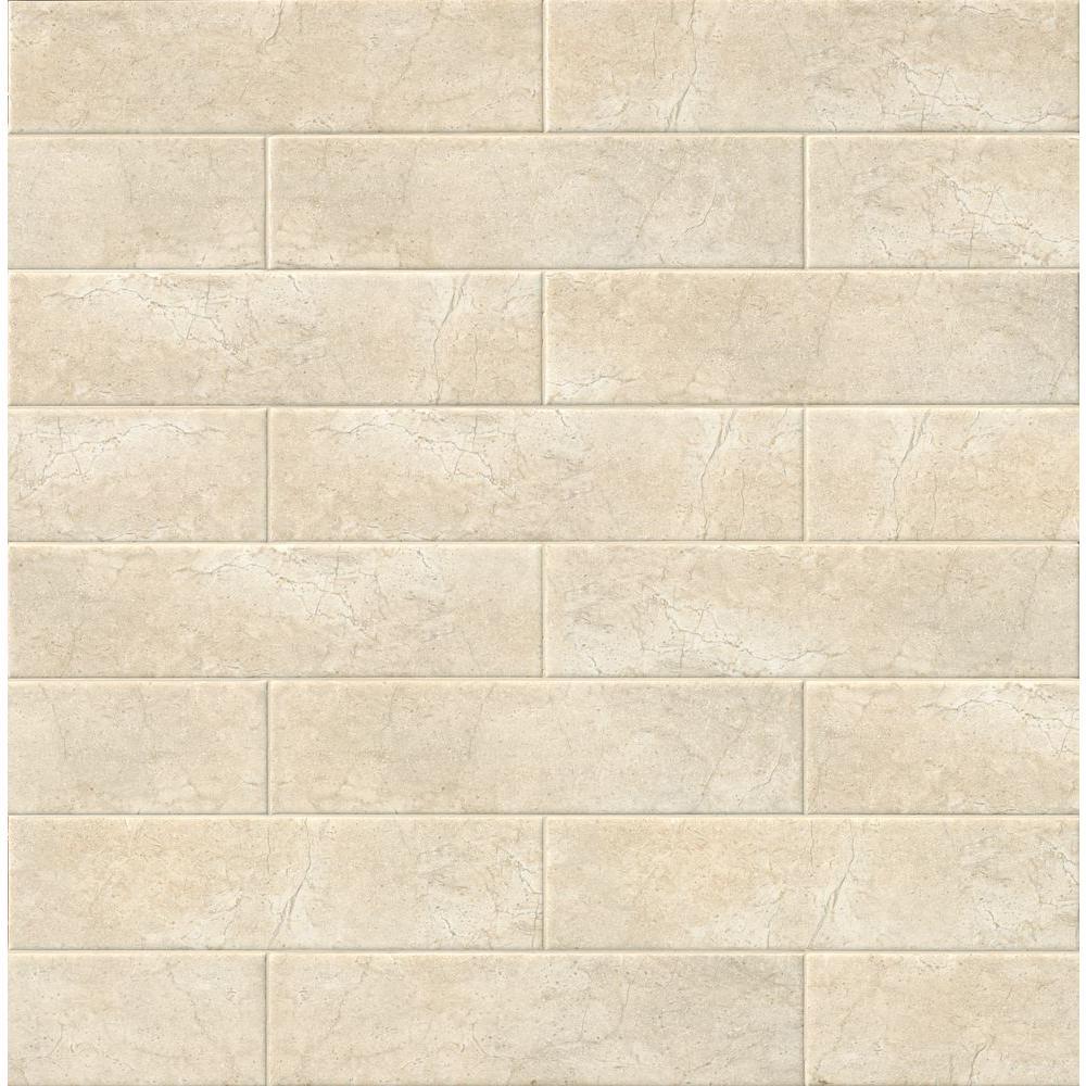 Marmi Crema Beige 4 in. x 16 in. Glazed Ceramic Wall Tile (11 sq. ft. / case)
