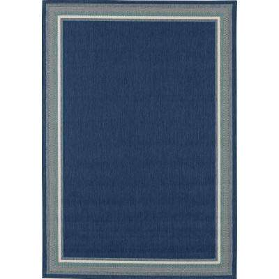 Border Navy/Aqua 8 ft. x 10 ft. Indoor/Outdoor Area Rug
