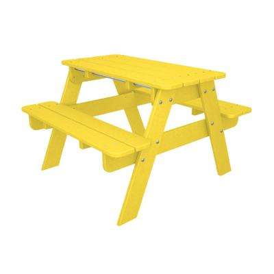 Yellow plastic picnic tables patio tables the home depot kids outdoor patio picnic table watchthetrailerfo