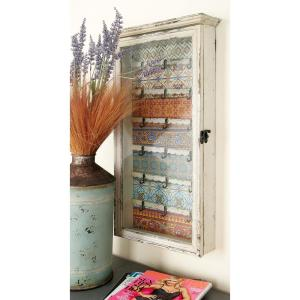 26 inch x 14 inch Farmhouse Wood and Glass Key Cabinet with Floral Patterns by