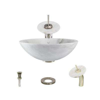 Stone Vessel Sink in Honed Basalt White Granite with Waterfall Faucet and Pop-Up Drain in Brushed Nickel