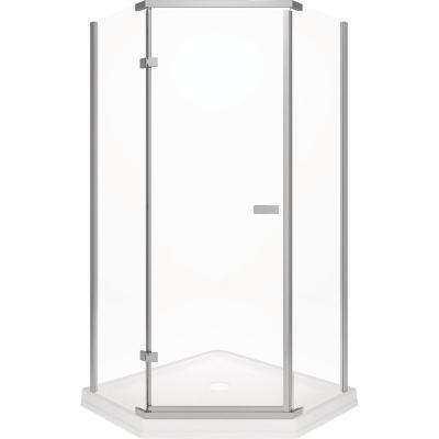 38 in. x 72 in. Semi-Frameless Pivot Door in Stainless with 38 in. x 38 in. Neo Angle Corner Shower Base in White