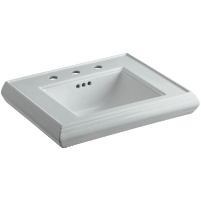 Memoirs 24 in. Ceramic Pedestal Sink Basin in Ice Grey with Overflow Drain