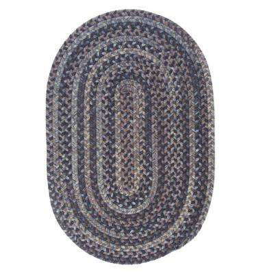 Cage Graphite 10 ft. x 13 ft. Oval Braided Area Rug