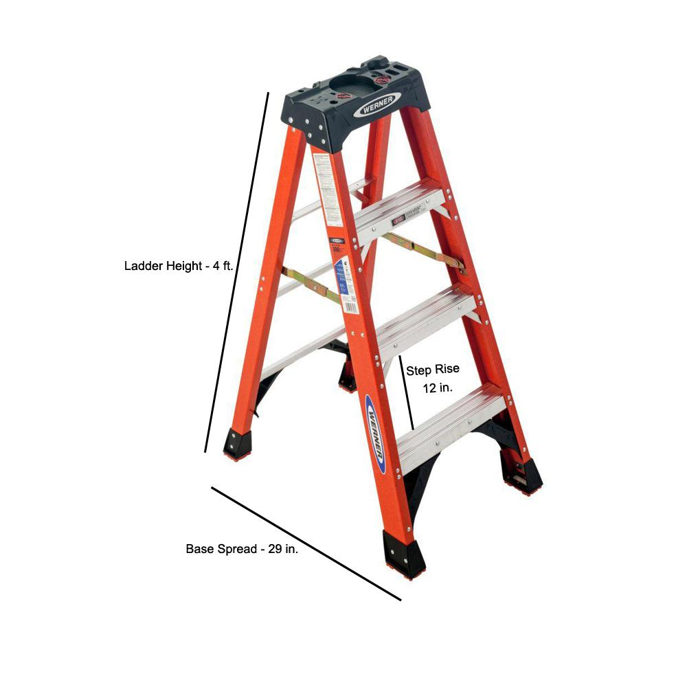 Werner 4 Ft Fiberglass Step Ladder With 300 Lb Load Capacity Type Ia Duty Rating Nxt1a04 The Home Depot