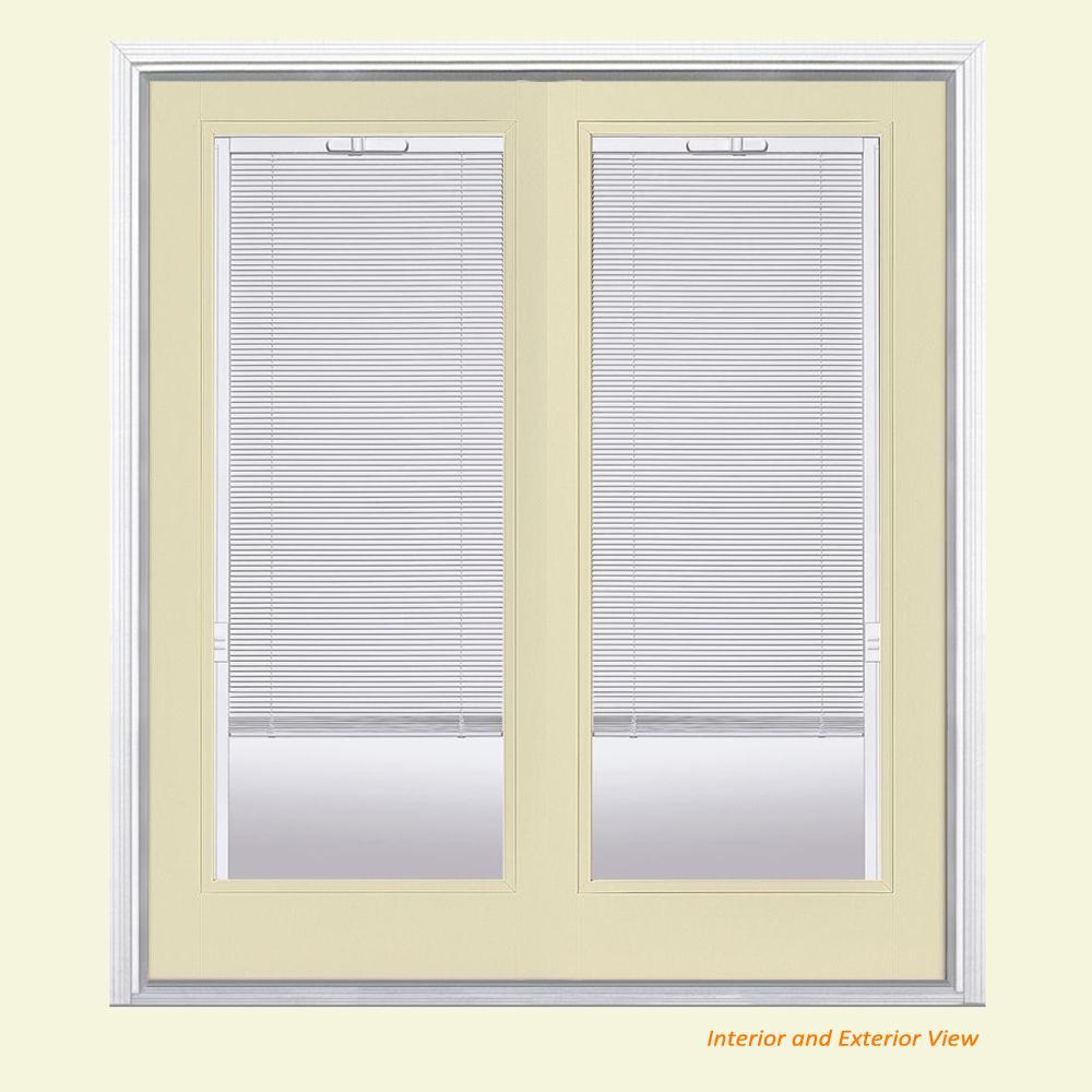 Masonite 72 in. x 80 in. Golden Haystack Fiberglass Prehung Right-Hand Inswing Mini Blind Patio Door with Brickmold