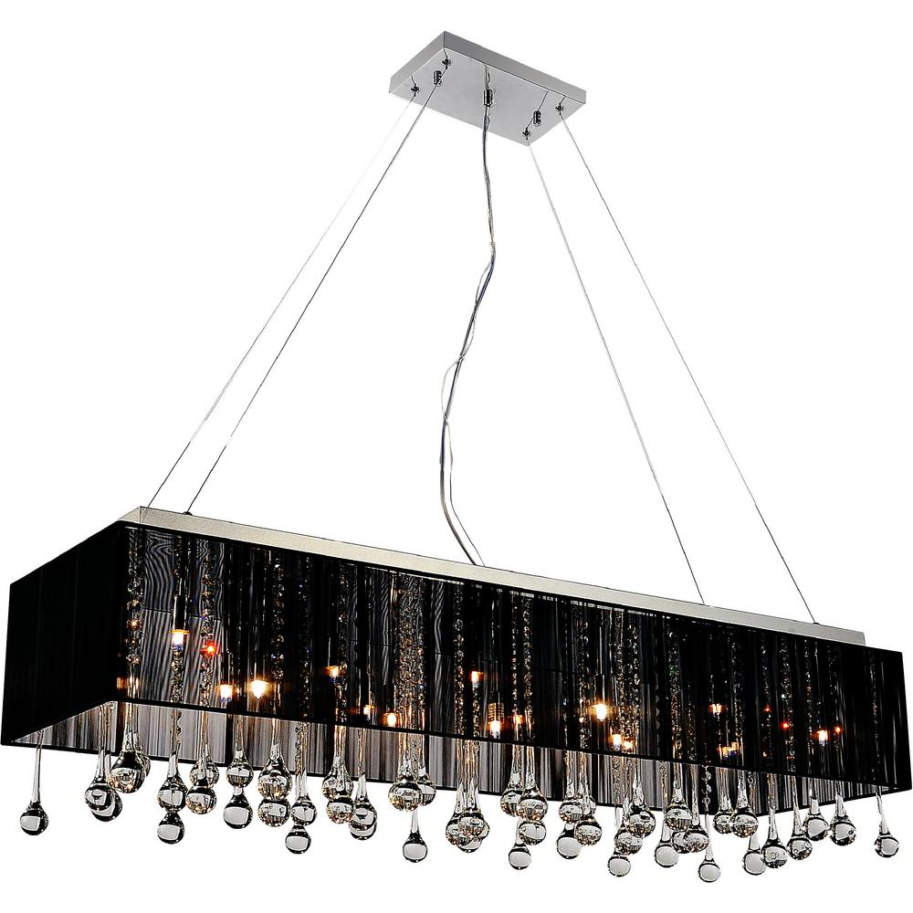 Water Drop 17 Light Chrome Chandelier With Black Shade