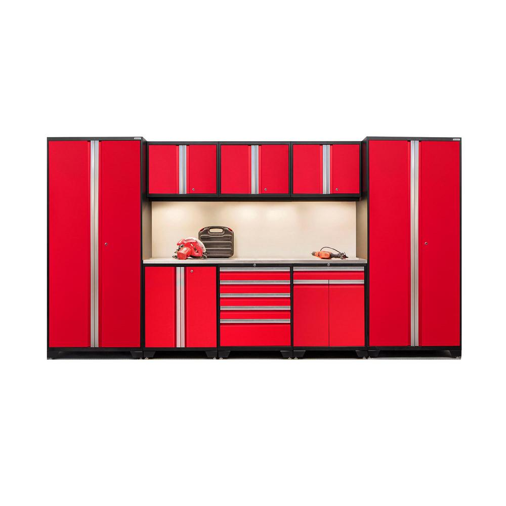 NewAge Products Pro 3.0 85 in. H x 156 in. W x 24 in. D 18-Gauge Welded Steel Stainless Steel Worktop Cabinet Set in Red (9-Piece)