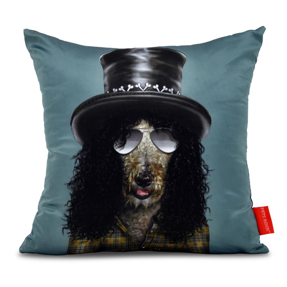 "18 in. x 18 in. Gray Pets Rock ""Gnash"" Throw Pillow"