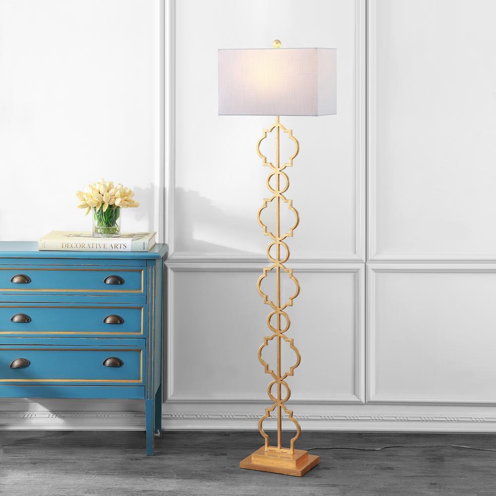 Selina 64.5 in. Gold Iron Ogee Trellis Modern LED Floor Lamp