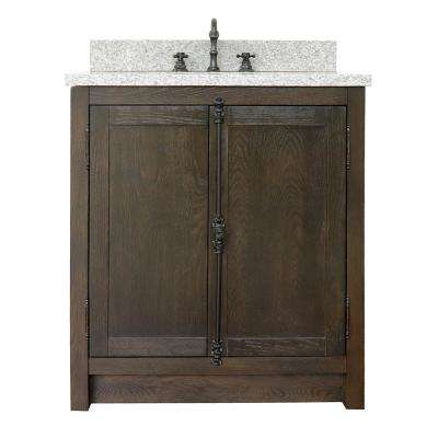 Plantation 31 in. W x 22 in. D Bath Vanity in Brown with Granite Vanity Top in Gray with White Rectangle Basin