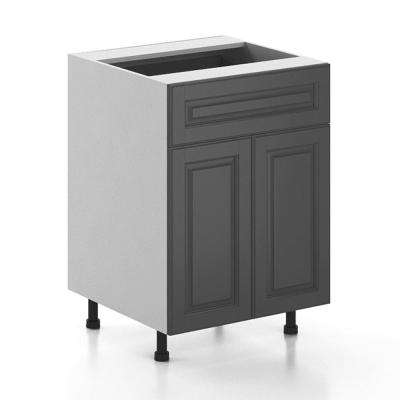 Ready to Assemble 24x34.5x24.5 in. Buckingham Base Cabinet in White Melamine and Door in Gray