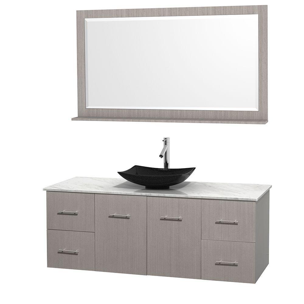 Centra 60 in. Vanity in Gray Oak with Marble Vanity Top in Carrara White, Black Granite Sink and 58 in. Mirror