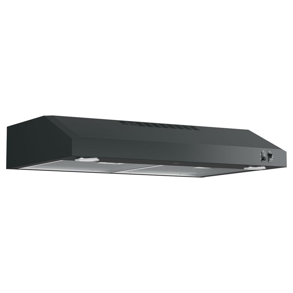 GE 30 in. Over the Range Convertible Range Hood in Black,...