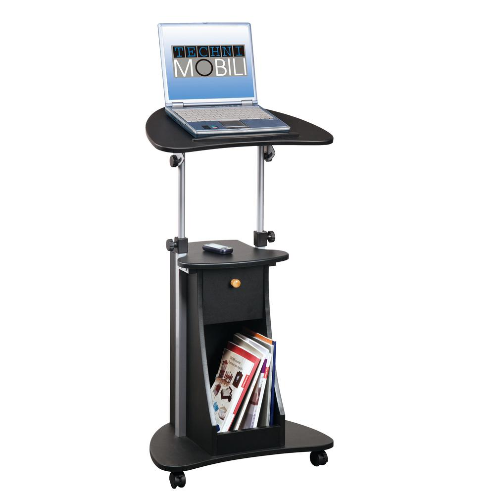 Black Sit-to-Stand Rolling Adjustable Laptop Cart with Storage