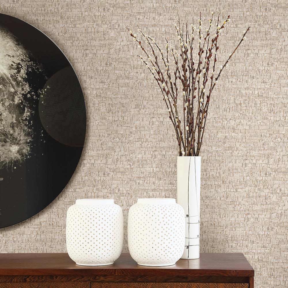 56.4 sq. ft. Burl White Small Cork Wallpaper