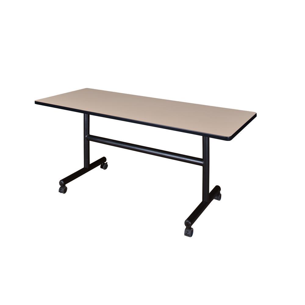 Kobe Beige 60 in. W x 24 in. D Flip Top Mobile Training Table