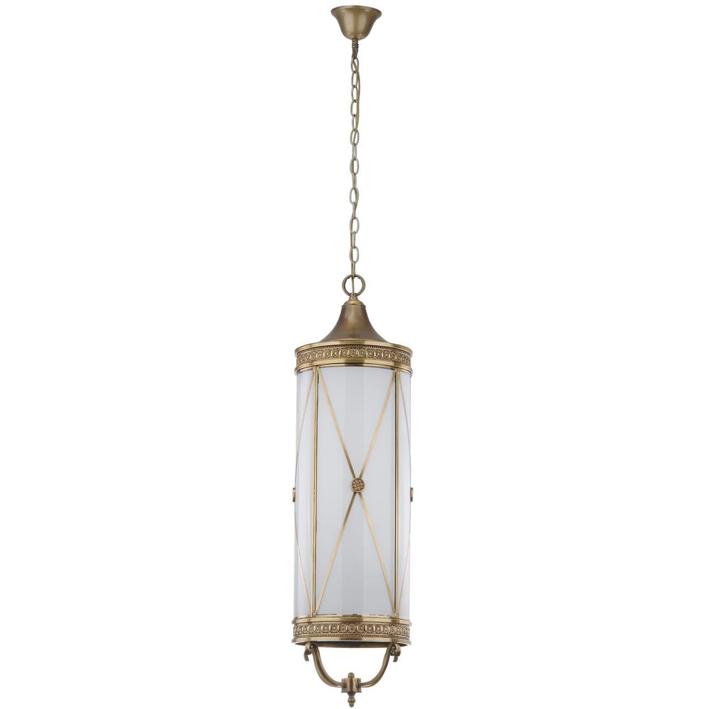 Safavieh Darby 6-Light Brass Large Pendant with Off-White Shade