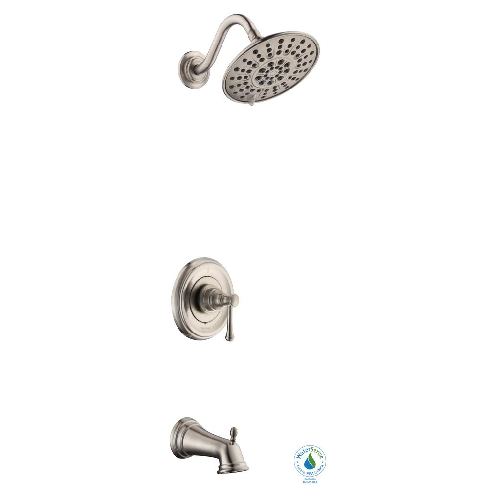Glacier Bay Warnick Single-Handle 1-Spray Tub and Shower Faucet in Brushed Nickel (Valve Included)