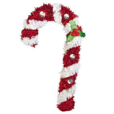 6 in. x 3.5 in. x 1 in. Candy Cane Tinsel Decoration (5-Pack)