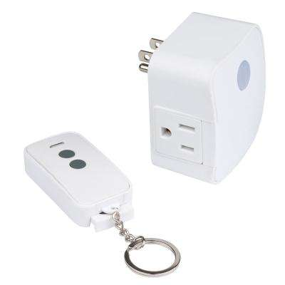 1 Amp to 15 Amp 1-Outlet Indoor Wireless Remote Control System with Single Grounded Outlet, White