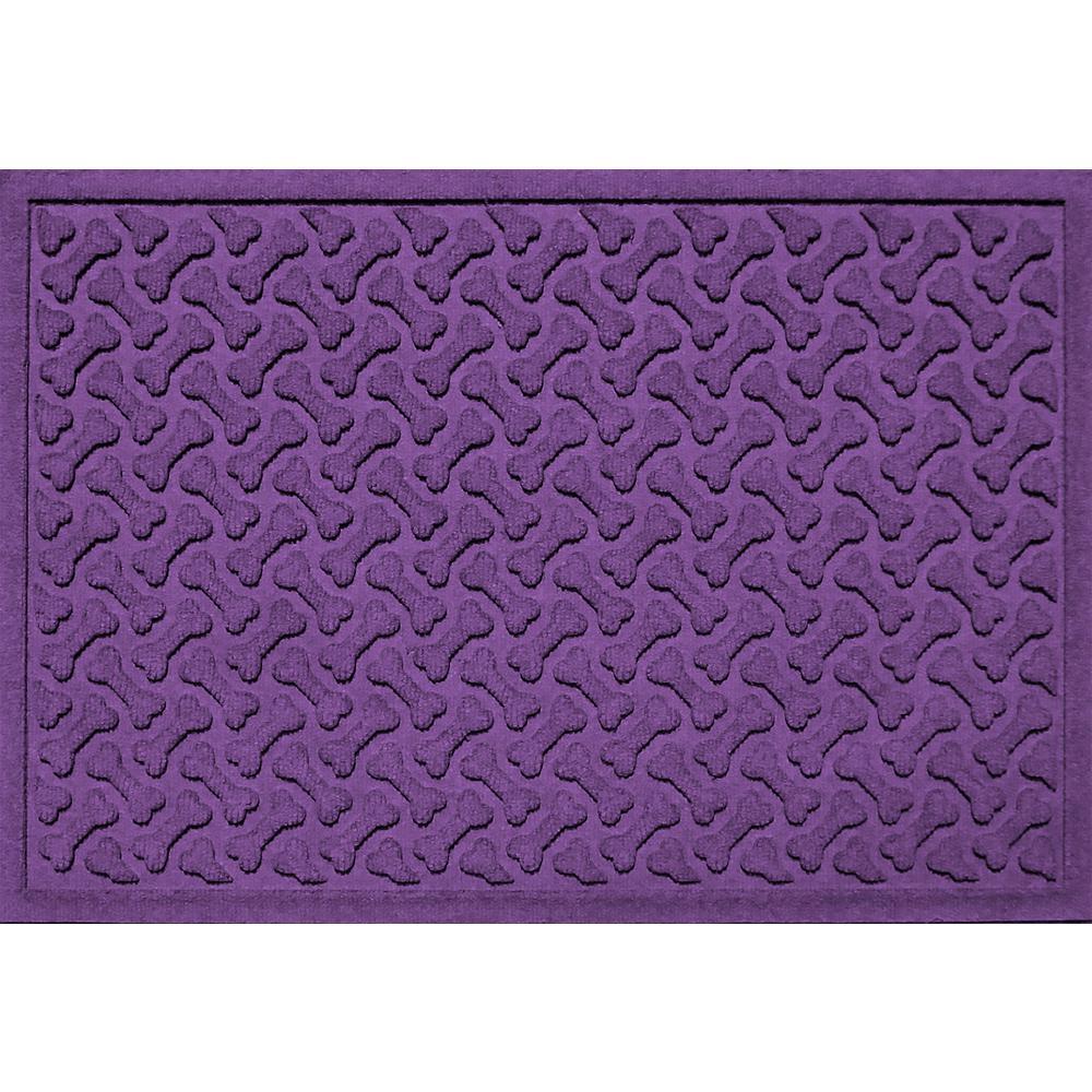 Purple 24 in. x 36 in. Dog Bone Repeat Polypropylene Pet Mat