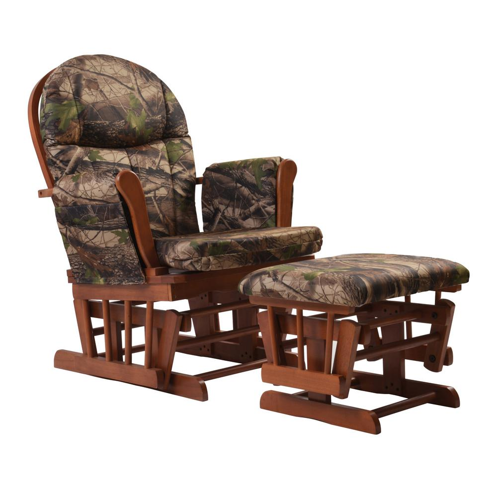 Artiva Deluxe Camouflage Fabric Cushion Glider Chair Ottoman Set Home