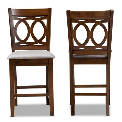 Lenoir 25 in. Grey and Walnut Counter Stool (Set of 2)